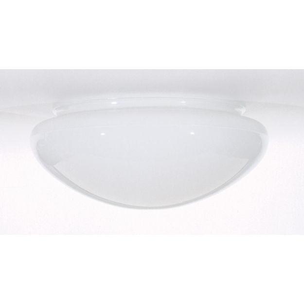 """Picture of Satco 50-330 8"""" Mushroom Glass Shade, 9-1/2"""" Dia, 7-7/8"""" Fitter, 4"""" H, Sprayed Inside White"""